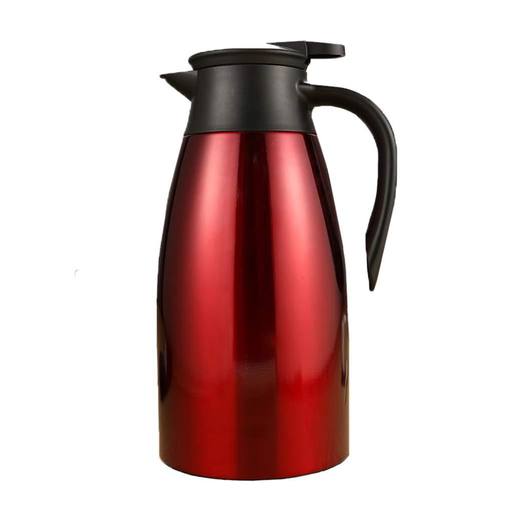 LRXG Thermoskannen, 304 Edelstahl 2L Doppelwandige Vakuumisolierte Kaffeekanne Kaffee Plunger Juice Isolation Reisebecher B2 (Farbe : ROT)