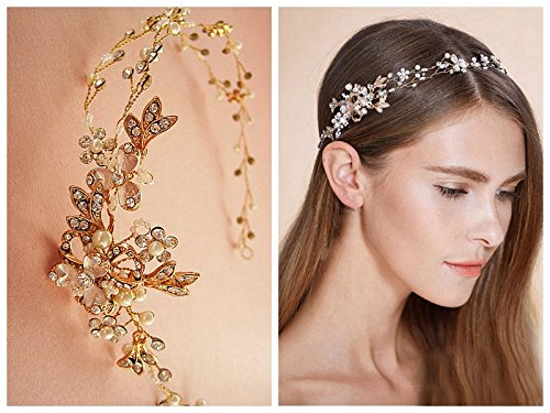 Sale-Timelessbride Austrian Crystal & Mother Pearl Wedding Hair Vine Ribbon Headband Tiara,Gold (Porcelain Gold Band)