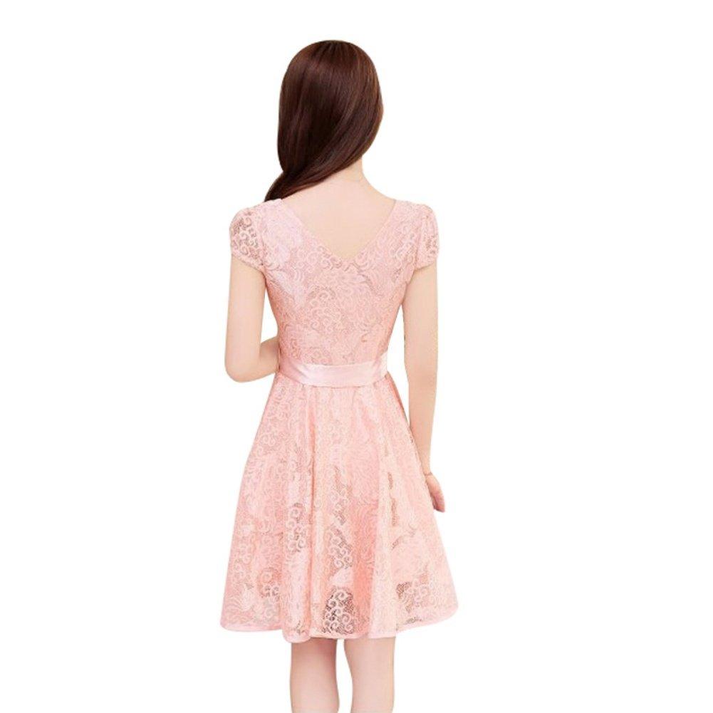 523227c2c85 Fedi Apparel Women's Korean Lace Floral Dress Short Sleeve V Neck Party  Dress