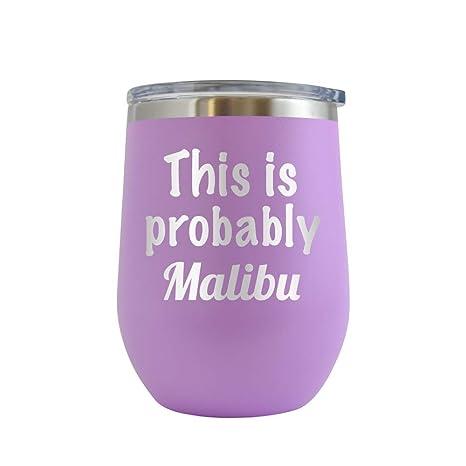 Amazon.com: Probablemente malibú – taza de vino con grabado ...