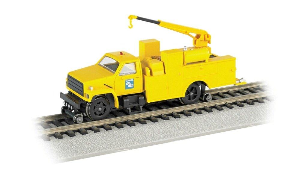 Bachmann Industries Maintenance of way Hi rail Equipment Truck with Crane DCC Equipped Conrail treno, giallo, scala HO
