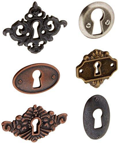 Prima Marketing JYF8-92227 Junkyard Findings Metal Embellishments, Key Holes, 6-Pack