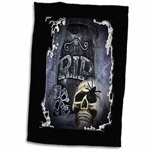 3D Rose Grave Marker Halloween Skull Design TWL_28314_1 Towel, 15