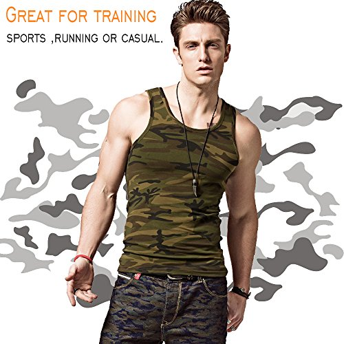 XShing Mens Cotton Gym Camo Tank Tops Compression Men's Sleeveless Shirt Muscle Comfort