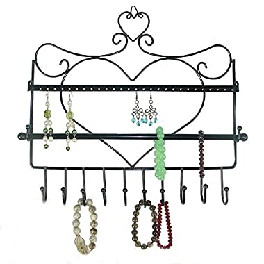 Bathroom Wall Mount Jewelry Organizer Hanging Earring Holder Necklace Bracelets Display Bar Stand Rack (black)