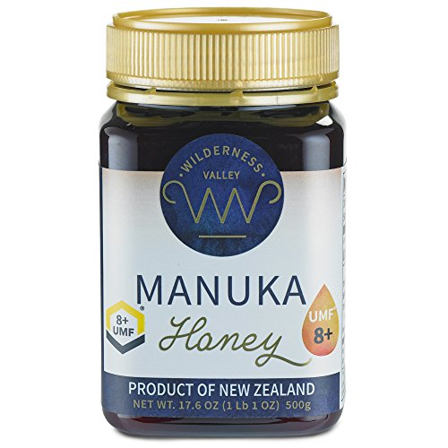 New Zealand Manuka Honey By Wilderness Valley (UMF 8+) 17.6 oz Jar, Sustainably Produced on High Country Farm, Pure & Natural