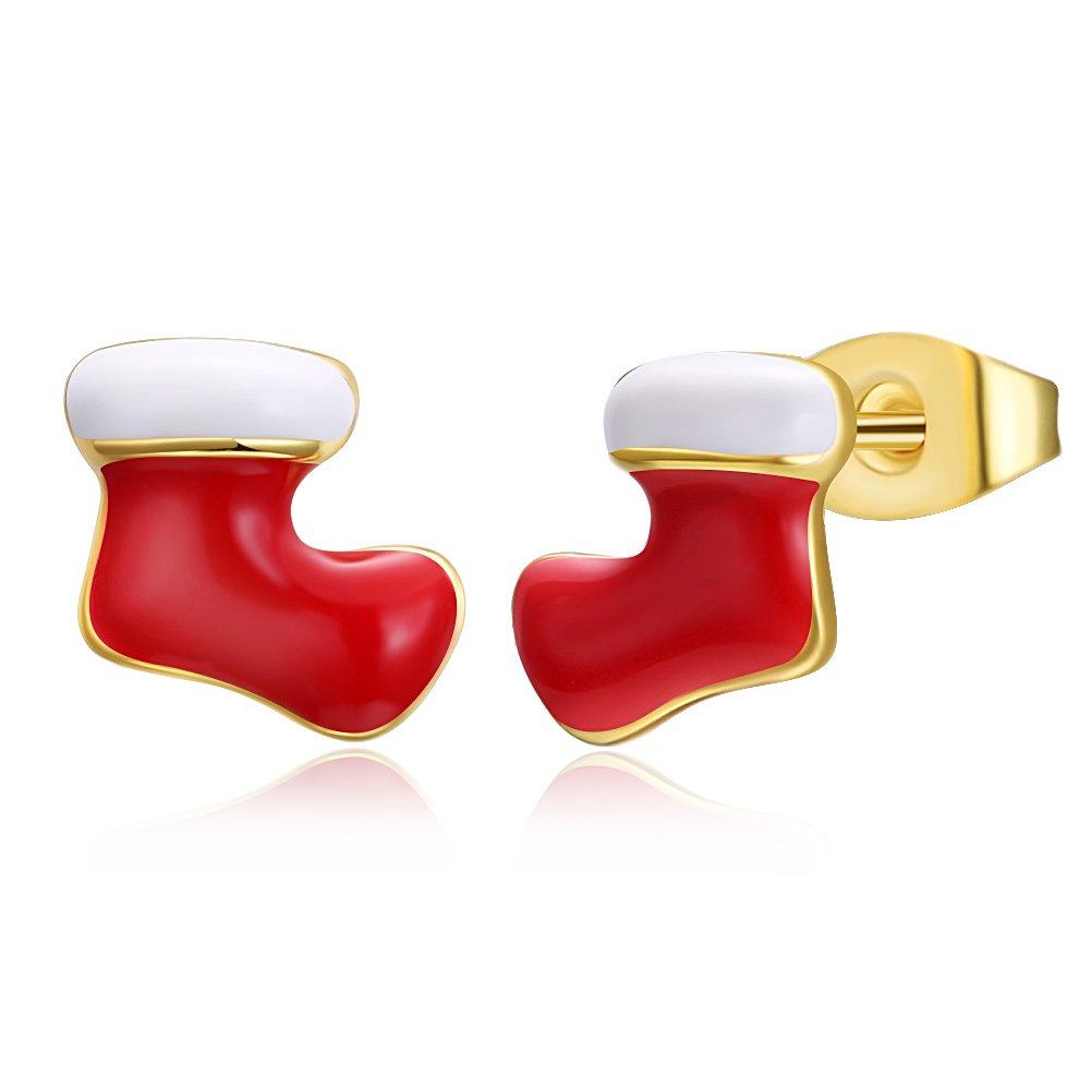 Christmas Santa Sock Reindeer Stud Earring Birthday Christmas Gift For Women Girl Novelty Jewelry Set
