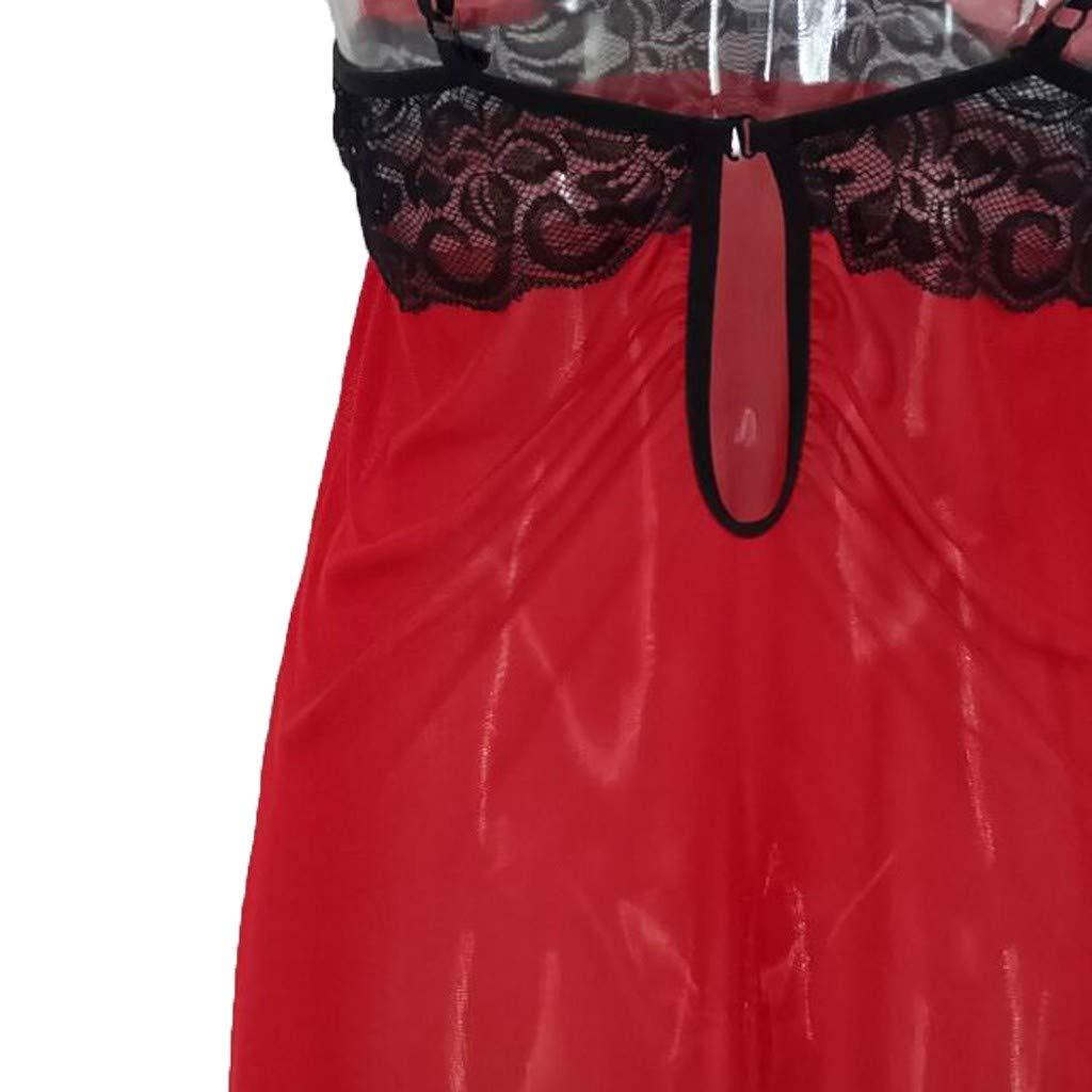 YKARITIANNA 2019 New Soft Hot Women Plus Size Lace Mesh Lingerie Red Babydoll Lace Split Cup Sleepwear Set by YKARITIANNA (Image #5)