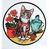 Decorative Stained Glass Static Window Clings in a Kitten and Geraniums Design. by Winged Heart presented by Celtic Glass Designs
