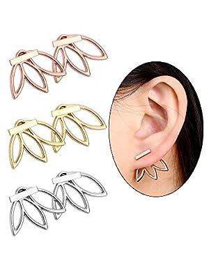 Hestya 3 Pairs Ear Jacket Stud Lotus Flower Earrings for Women and Girls