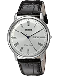 Orient Mens Capital Version 2 Quartz Stainless Steel and Leather Dress Watch, Color:Brown (Model: FUG1R009W9)