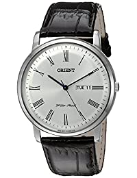 Orient Men's 'Capital Version 2' Quartz Stainless Steel and Leather Dress Watch, Color:Brown (Model: FUG1R009W9)
