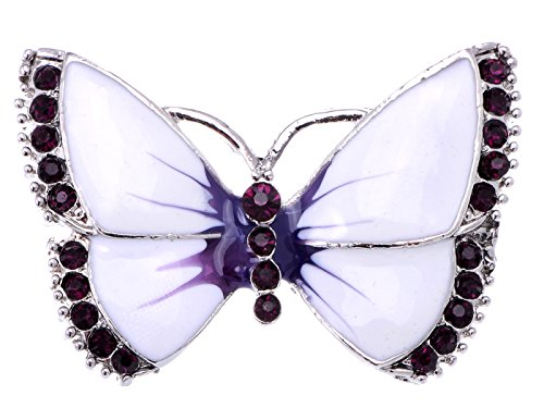 (Alilang Painted Enamel Amethyst Crystal Rhinestone Butterfly Fashion Jewelry Pin Brooch)
