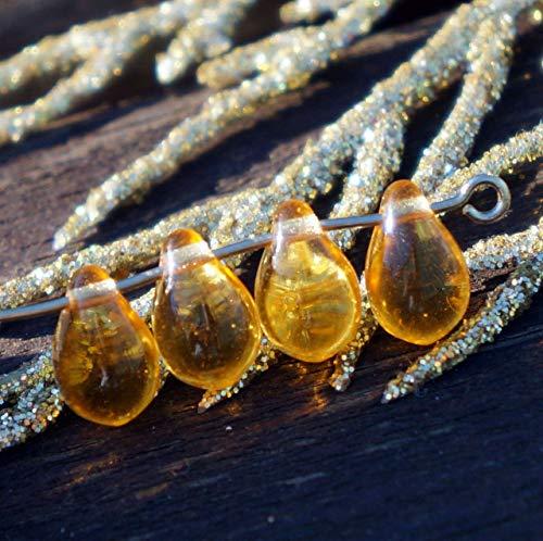 20pcs Crystal Honey Yellow Czech Glass Teardrop Beads 9mm x 6mm
