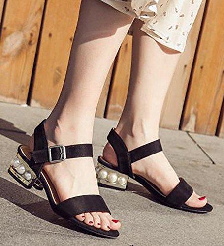 Aisun Damen Fashion Spezial Absatz Mit Künstliche Perlen Metall Knöchelriemen Pumps Sandaletten Schwarz