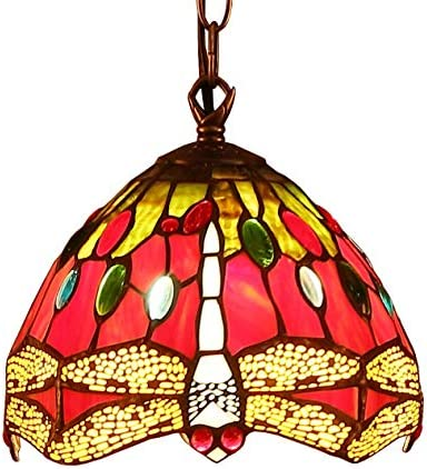 Bieye L10083 Dragonfly Tiffany Style Stained Glass Ceiling Pendant Light Fixture with 7-inch Wide Lampshade Red