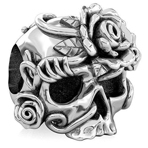 Authentic BELLA FASCINI Bella Rosa Skull Bead Charm - Dia de los Muertos - 925 Silver - Fits Bracelets