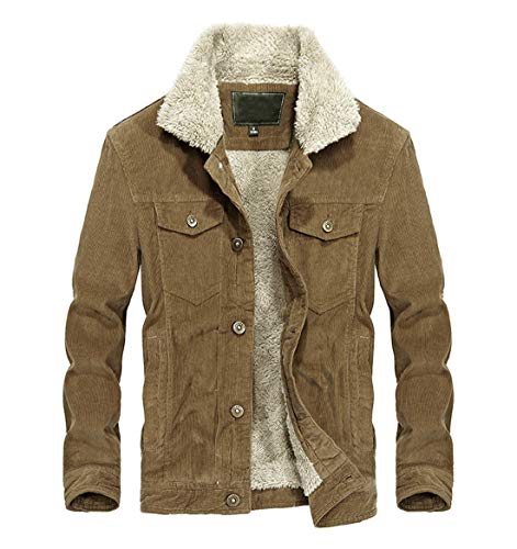 Chartou Men's Vintage Button-Front Sherpa Lined Shearling Slim Fit Corduroy Denim Jacket (Large, Khaki-Fleece)