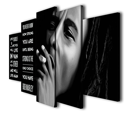 Susu Art 5 Pieces Bob Marley Quotes Canvas Giclee Print Painting Picture Wall Art Home Decor Gifts (With Frame, SIZE 2: 12x16inx2pcs, 12x24inx2pcs, 12x32inx1pc)