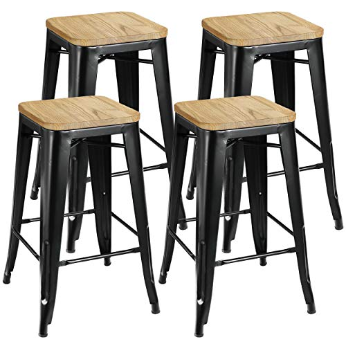 "ZENY Set of 4 Metal Bar Stools 26"" Counter Height with Wooden Seat Stackable Indoor/Outdoor Barstools, 330 lbs Capacity"