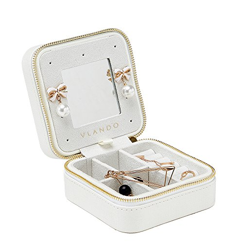 Vlando Small Travel Jewelry Box Organizer - Refined Carry-on Jewelries Storage Case Rings Earrings Necklace (White)