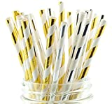 Silver & Gold Shiny Tinsel Holiday Straws (50 Pack) - Formal Christmas Party Supplies, Black Tie Event Paper Foil Straws, Gold & Silver Hollywood Parties