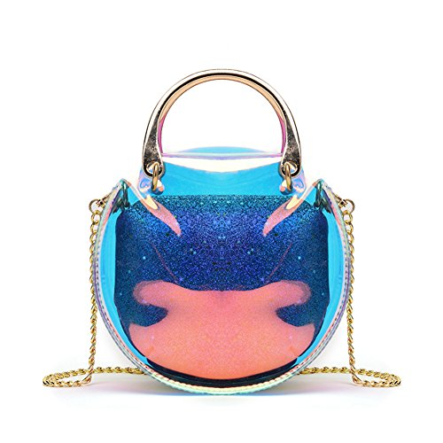 Hologram Tote Bag Purse 2 in 1 Round Holographic Clear Purses and Handbags (Blue) ()