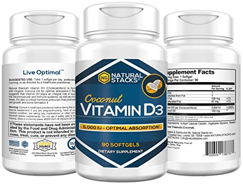 Natural Stacks Vitamin D3 Supplement – 90 Count Softgels- Boost Mood – Improve Cognitive Ability – Increase Overall Health and Wellness-Vitamin & Dietary Supplement Review