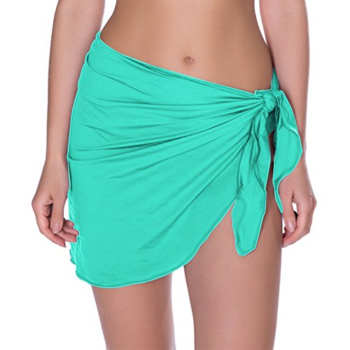 Timistar Beach Coverups, Womens Beach Sarong Pareo Chiffon Cover up Swimsuit Wrap Short (Pale Turquoise)