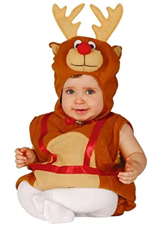 893f4e95b2c4 Image Unavailable. Image not available for. Color: Baby Boys Girls Rudolph  Reindeer Christmas Velour Onesie Fancy Dress Costume Outfit (6-12