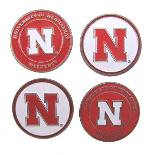 Waggle Pro Shop Nebraska Huskers Double Sided Golf Ball Markers (Set of Four) ()