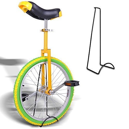 20'' Inches Wheel Skid Proof Tread Pattern Unicycle W/ Stand Uni-Cycle Bike Cycling YELLOW GREEN by Jamden (Image #1)