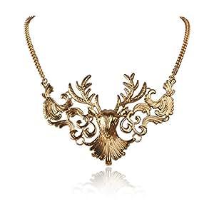Jane Stone Fashion Deer Skull Necklace Moose Head Vintage Jewelry Bib Collar for Women(Fn0786)