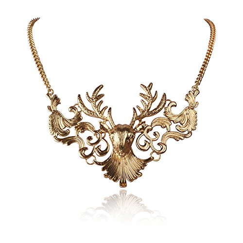 Wearing Vintage Costume Jewelry (Jane Stone Fashion Deer Skull Necklace Moose Head Vintage Jewelry Bib Collar for Women(Fn0786))