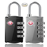 TSA Combination Lock 4 Digit Combination Luggage Padlocks for Travel Baggage Backpack Locker Suitcase(Black+Silver)