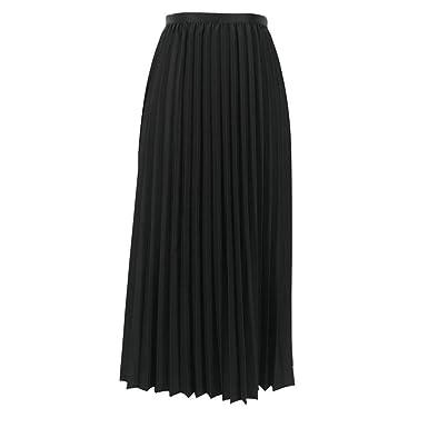 Falda Plisada de Color Sólido para Mujer Azul Marino Falda ...