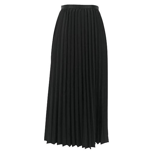 da9ec3d2aa Womens Pleated Skirt Summer Solid Color Boho Flared Elasticated Waist  A-line Midi Skirts (