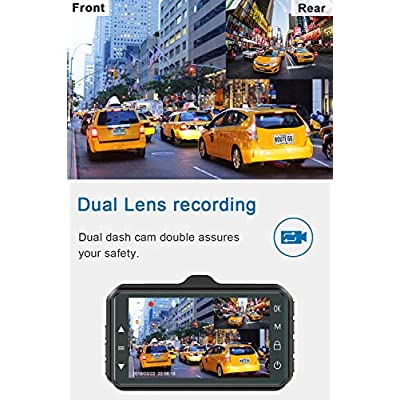 Dash Cam Front and Rear CHORTAU Dual Dash Cam 3 inch Dashboard Camera Full HD 170° Wide Angle Backup Camera with Night Vision WDR G-Sensor Parking Monitor Loop Recording Motion Detection: Car Electronics
