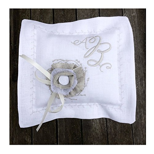 Ring Bearer Pillow White Off white Linen Personalized Embroidered Monogram Grey Ecru Rustic Flower Corsage