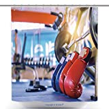Fun Shower Curtains Boxing Gloves Red And Blue Gym Fitness Exercise The Boxing Concept 394095697 Polyester Bathroom Shower Curtain Set With Hooks