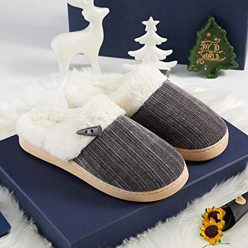 DRSLPAR Women's Cozy House Slippers Memory Foam Ladies Bedroom Fluffy Slippers Warm Home Shoes with Plush Lined Indoor Outdoor (7-8 UK, Dark Gray)