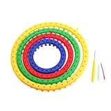 Dophee 4Pcs 4 Size Classical Round Circle Hat Knitter Knitting Knit Loom DIY Tool Kit