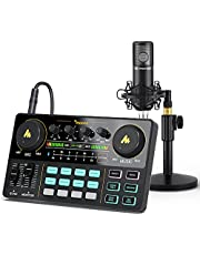 Audio Interface with DJ Mixer and Sound Card, Maonocaster Lite Portable ALL-IN-ONE Podcast Production Studio with 3.5mm Microphone for Guitar, Live Streaming, PC, Recording and Gaming