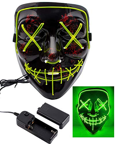Apipi Halloween LED Light up Mask-Frightening EL Wire Cosplay Mask for Festival Parties(Green) -