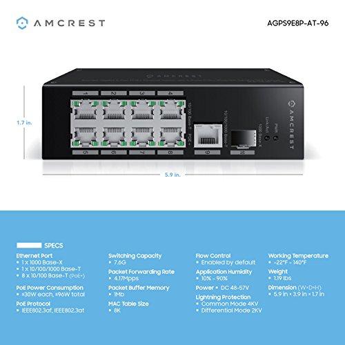 Amcrest 4K 16-Channel PoE NVR w/Gigabit Uplink 9-Port POE+ Ethernet Switch,  Metal Housing, 8-Ports POE+ (Plus) 802 3at 96w, Hard Drive Not Included