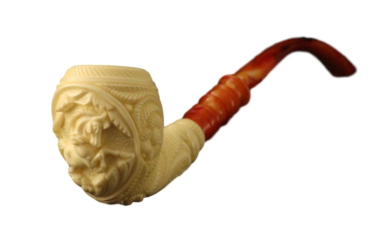 Meerschaum Pipe - HORSE Medallion Churchwarden from Master Carver Kudret - Tobacco Smoking Pipe Hand Made from the Finest Block Meerschaum - New