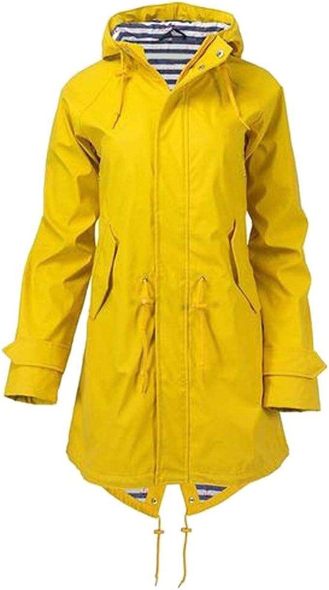 Inverlee Womens Solid Rain Jacket Outdoor Hoodie Waterproof Long Coat Overcoat Windproof