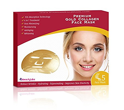 UPC 820103891899, 24k Gold Collagen Skin Tightening Face Mask By iBeautyLabs - Anti Aging, Deeply Moisturizing, Rejuvenating, Whitening & Firming Effects- 10x Absorption Rate- Ideal For All Skin Types (Pack Of 5)