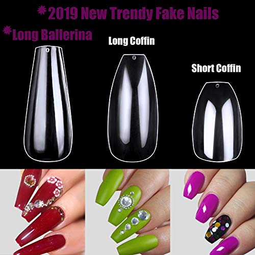 Fake Acrylic Nails Coffin Clear ECBASKET Full Cover