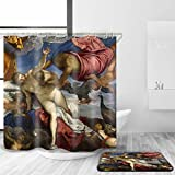 KANATSIU Breast-Feeding Person Classical Painting Shower Curtain 12 Plactic Hooks,100% Made Polyester,Mildew Resistant & Machine Washable,Width x Height is 72X72